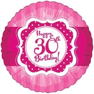 "Age 30 Happy Birthday Pink and White 18"" Foil Balloon"